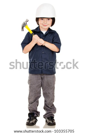 Boy playing to be construction builder - isolated over a white background