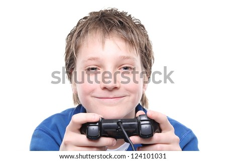 Boy playing with a joystick