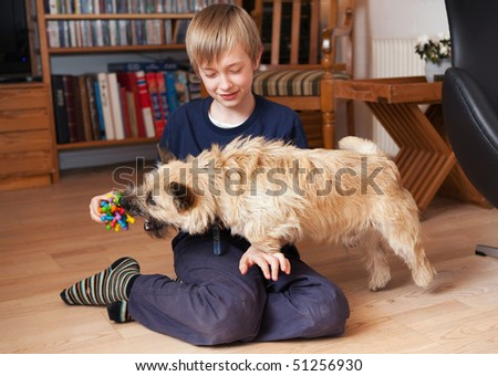 Boy playing with dog in living room - stock photo