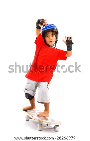 Boy playing with his skate on white . - stock photo
