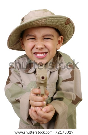 boy point a gun at you, isolated on white background - stock photo