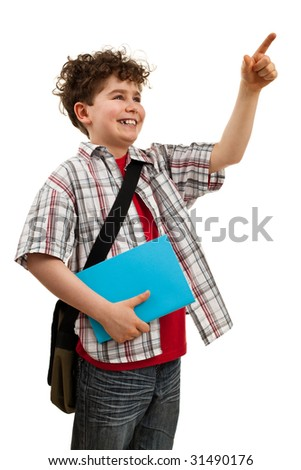 Boy pointing isolated on white - stock photo