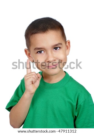 Boy pointing up looking wise, six years old, isolated on white background - stock photo