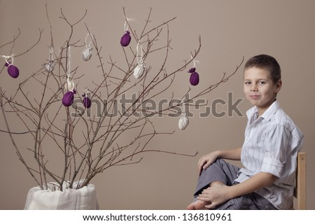 Boy portrait during Easter - stock photo