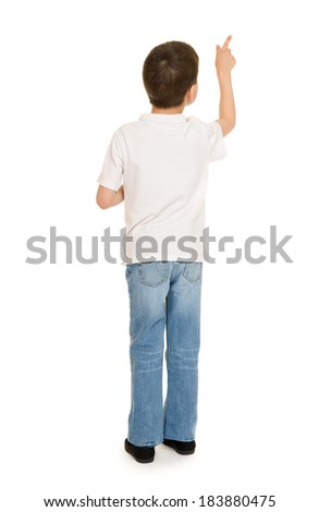 boy portrait in studio on white - stock photo