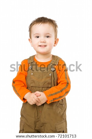 Boy portrait looking straight isolated on white - stock photo