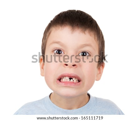 Boy portrait with a lost tooth