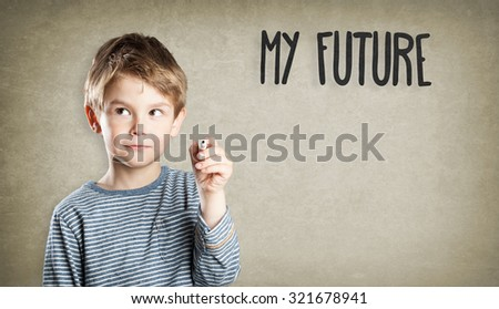 Boy, Portrait, writing, What will be my future?