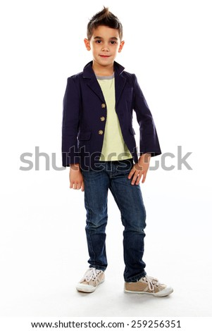 Boy posing in studio isolated on white. - stock photo