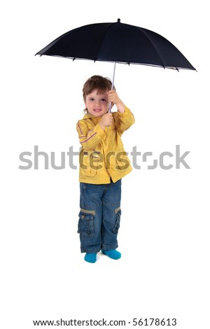 Boy posing with umbrella on a white background - stock photo