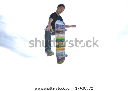 Boy practicing skate in a skate park - isolated - stock photo