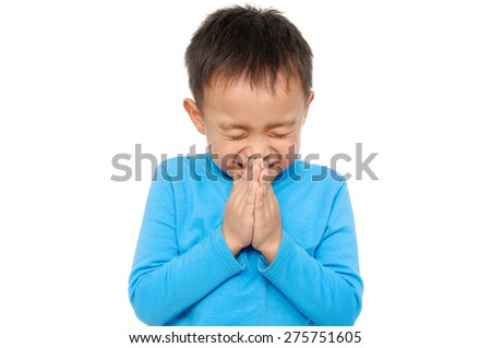 Boy Praying - stock photo
