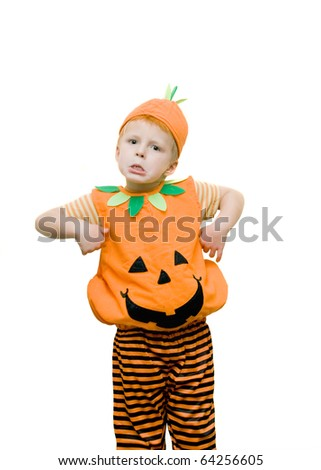 Boy pulling a funny face wearing a halloween costume. - stock photo