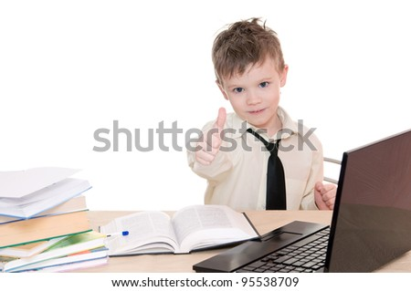 boy pupil shows all right isolated on white background - stock photo