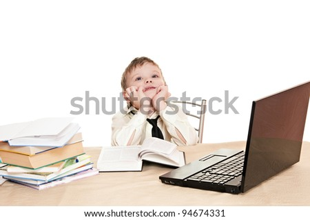 boy pupil thinks for in time  homework isolated on white background - stock photo
