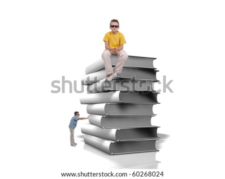 Boy push pile of white books and one boy sit on top of books over white background - stock photo