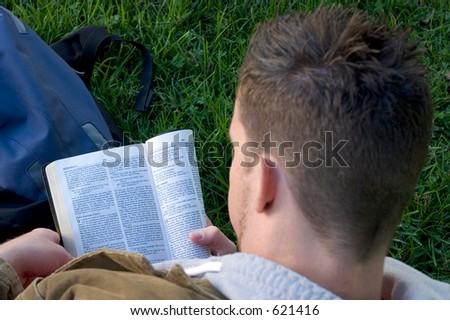 Boy Reading - stock photo