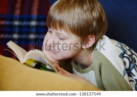 boy reading  a book at home - stock photo