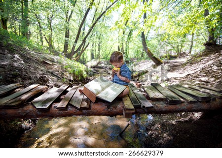 Boy reading a book on nature - stock photo