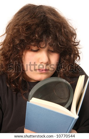 boy reading a book with lens on white background - stock photo
