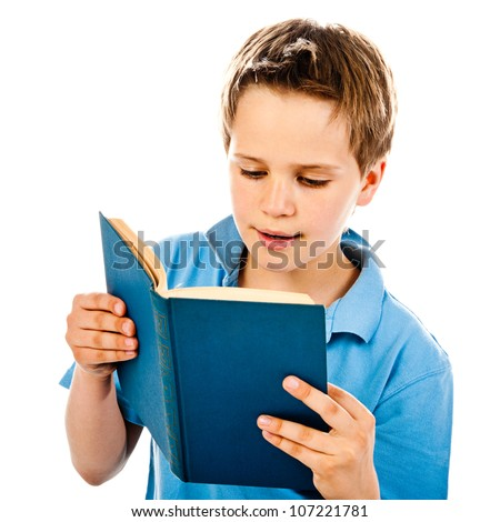 boy reading book isolated on a white background - stock photo