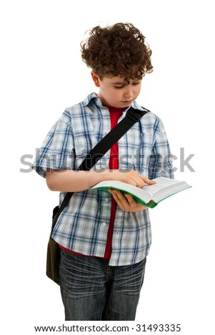 Boy reading book isolated on white - stock photo