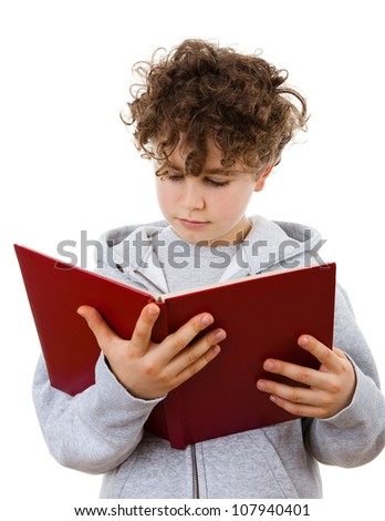 Boy reading book isolated on white background