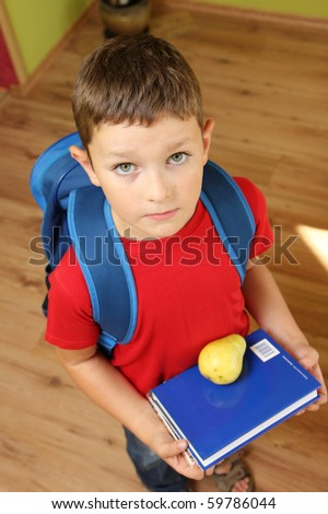 Boy ready for school with books and school backpack. - stock photo