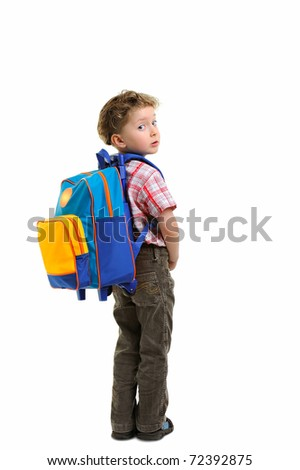 boy ready to school isolated