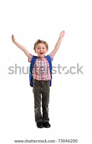 boy ready to school isolated - stock photo