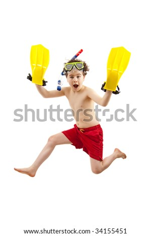 Boy ready to swim and dive isolated on white background - stock photo