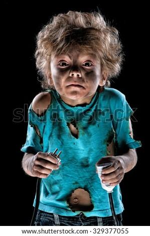 Boy receiving an electric shock after a short circuit - stock photo