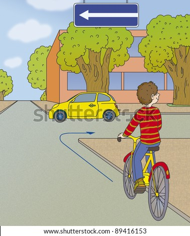 boy rides a bicycle and going to turn - stock photo