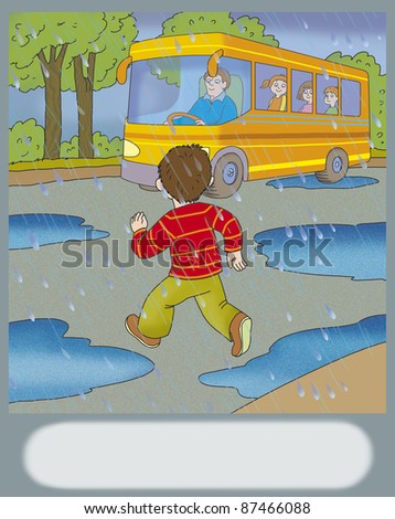 boy runs across the road to get on the bus - stock photo