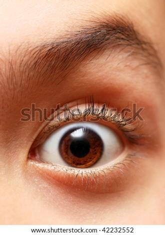 boy's eye close-up - stock photo