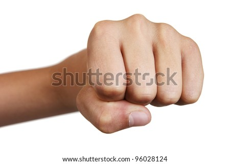 boy's fist. isolated on white background