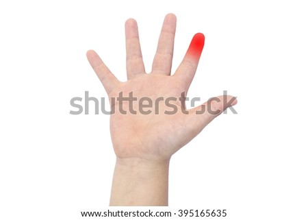 Boy's hand with a red forefinger