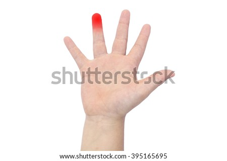 Boy's hand with a red ring finger