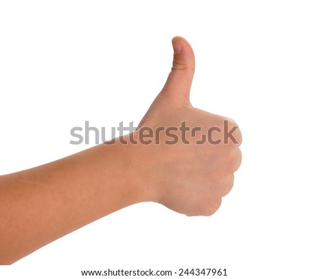 boy's hands showing thumb up isolated with Clipping Path included - stock photo