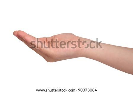 boy's open palm on white - stock photo