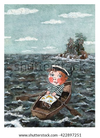 boy sailor sails on the boat in the direction of the island,watercolor,children's book illustration,drawing - stock photo