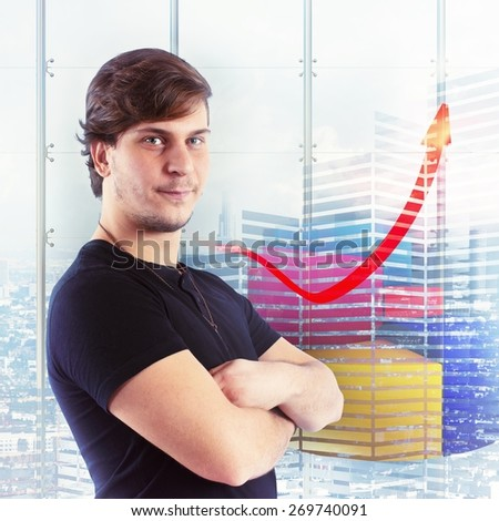 Boy satisfied with financial and economic growth - stock photo
