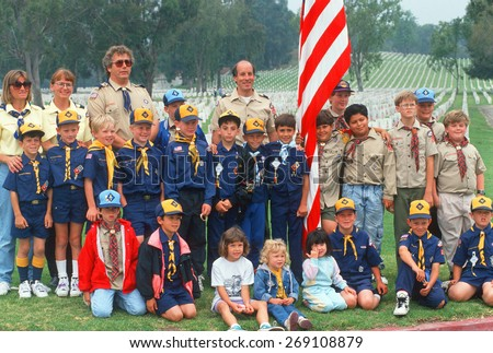 Boy Scout and Cub Scout troops at Veteran's National Cemetary, Los Angeles, CA - stock photo