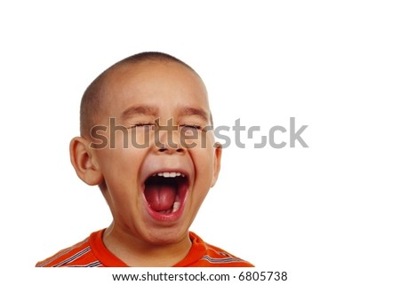 Boy screaming - stock photo