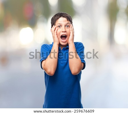 boy screaming abstract background - stock photo
