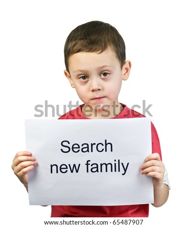 boy search new family isolated - stock photo
