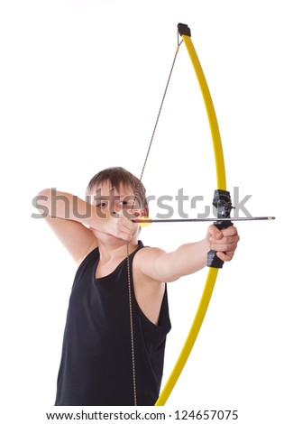boy shoots a bow on a white background - stock photo