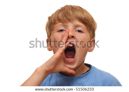 Boy shouts it out loud - stock photo