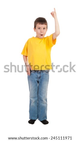 boy show finger up - stock photo