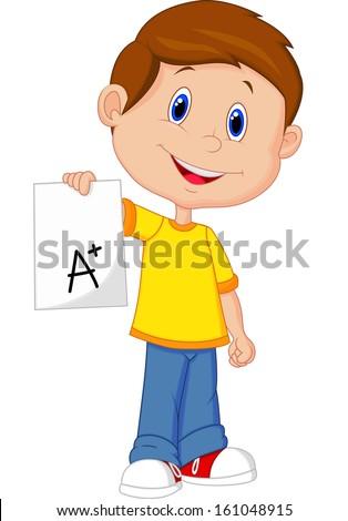 Boy showing A plus grade - stock photo